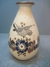 Signed Mexican Enameld Pottery Bud Vase Dove Or Pigeon Over Flowers