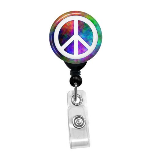 Psychedelic Hippie Peace Sign Badge Reel Custom ID Card Retractable Badge Holder