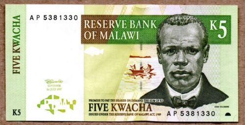 Malawi UNC Note 5 Kwacha July 1997 P-36