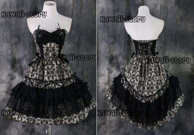 M-541 S/M/L/XL/XXL beige black Gothic Lolita Cosplay Kostüm costume Kleid dress