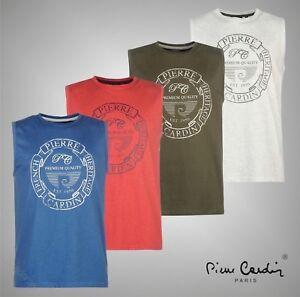 Para-Hombre-Pierre-Cardin-Ligero-Impresion-Sin-Mangas-Camiseta-Top-Tamanos-Desde-S-A-LA-XXL