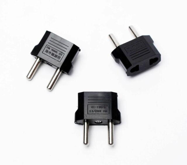 220V Plug Adapter 3ea US Canada to EU Europe 110V-220V Travel Adapter Round Tip