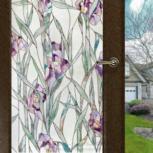 Purple-Flower-Window-Film-Print-Sticker-Cling-Stained-Glass-UV-Block-Gift-Decor