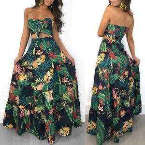 Womens Boho 2PCS Bandeau Tube Crop Top Maxi Skirt Co Ord Party Holiday Dress Set