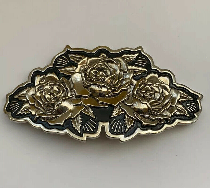 Famous Stars & Straps Coyote Ugly Silver Tone Metal Large Roses Belt Buckle