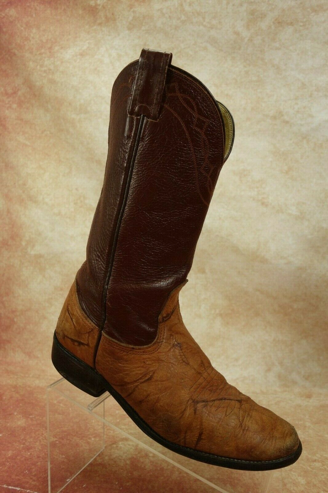 b78fc718336 VTG Nocona Red Tan Leather Western Ropers Cowboy Boots Mens Size 8D ...