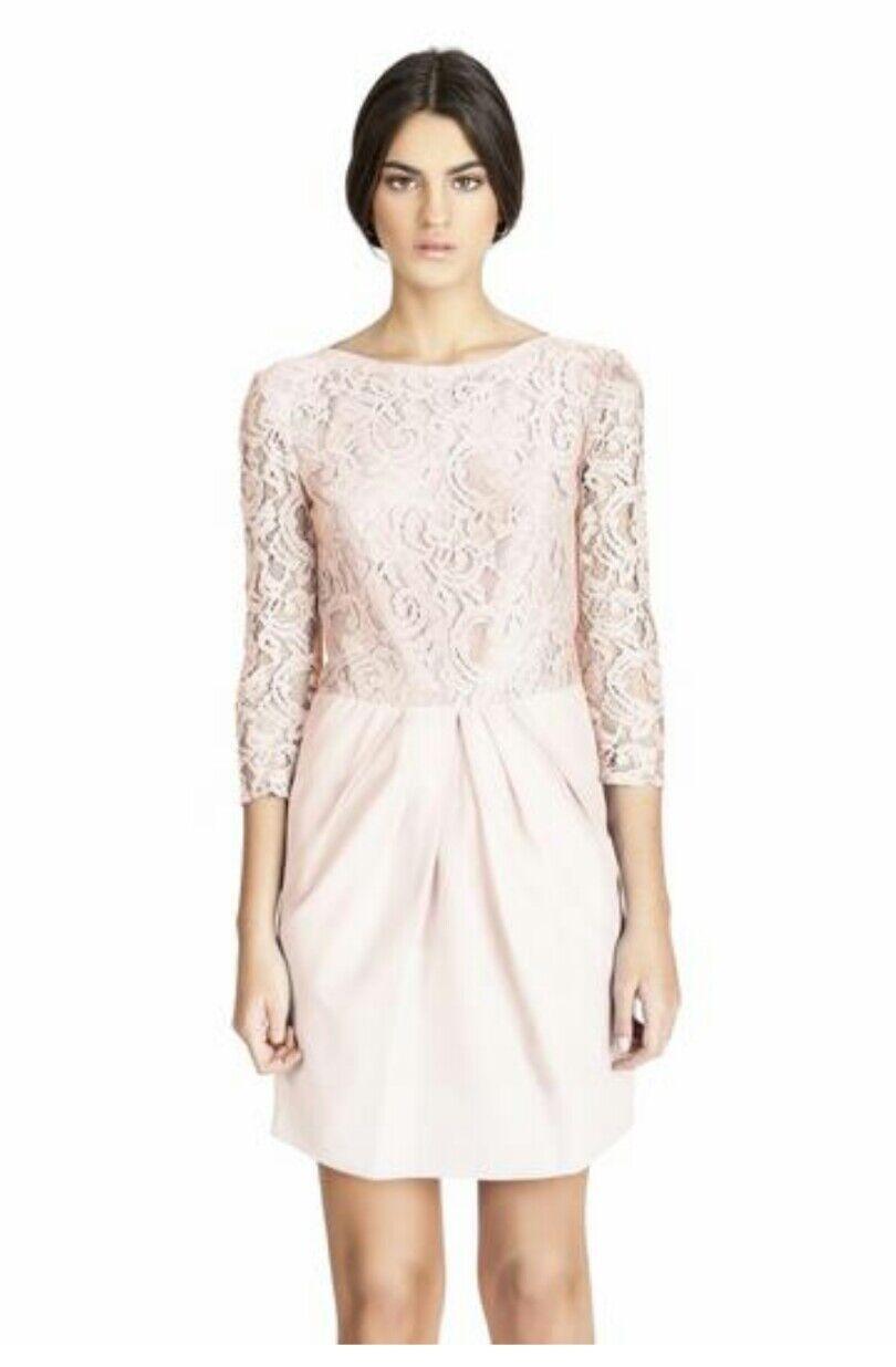 Vestido invitada encaje rosa pastel boda,bautizo,comunión t.42