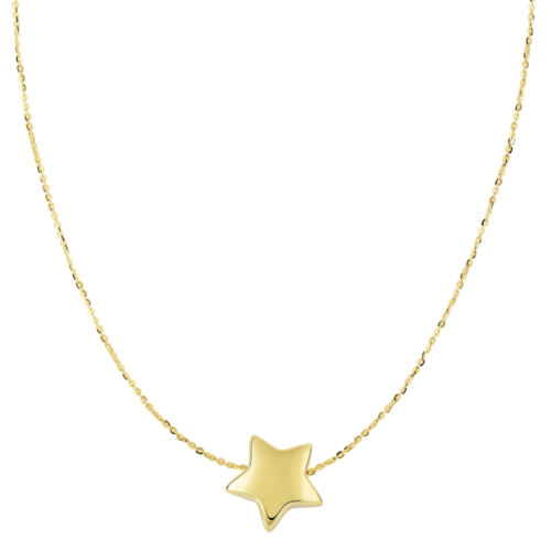 14K Yellow Gold Sliding Puffed Star Pendant On 18 Inch Necklace