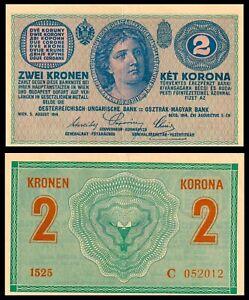 AUSTRIA-HUNGARY-EMPIRE-1914-2-ZWEI-KRONEN-KET-KORONA-P-17-aUNC-RARE