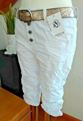 A Quadri Star Big Size Boyfriend Paillettes Bermuda 3/4 Jeans Shorts Pantaloni Bianco-mostra Il Titolo Originale