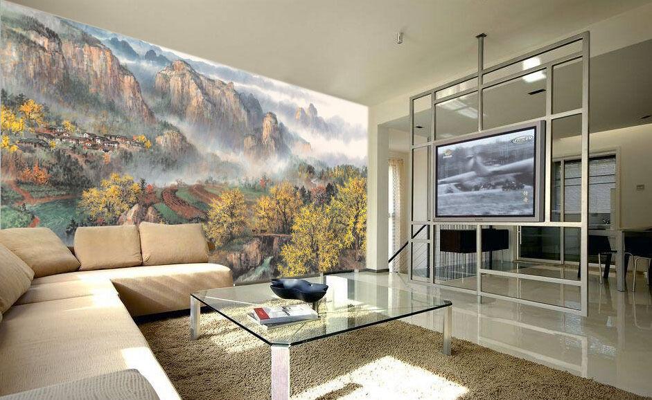3D Dorf-Landschaft 45 Fototapeten Wandbild Fototapete Bild Tapete Familie Kinder