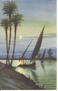 Sailing-Felukas-on-the-Nile-Moonlight-Egypt-Artist-Signed-AYOUB-BISHAI-R56
