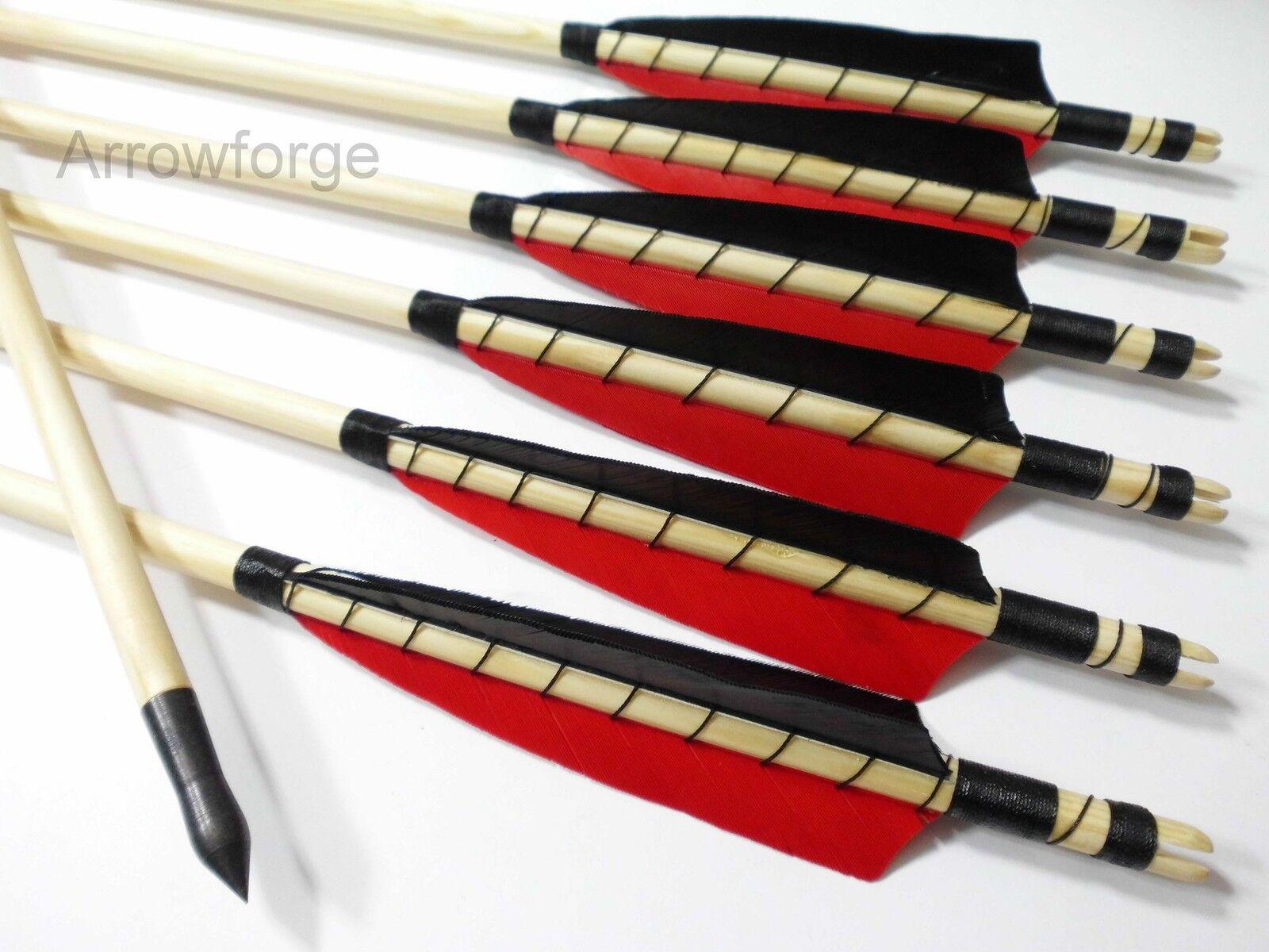 6 6 6 Holzpfeile  Langbogenpfeile Selfnock Pfeile traditionell 5  Shield Rot Schwarz 7706c0