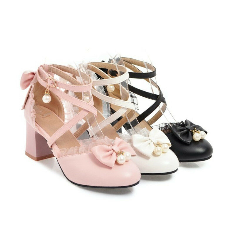 Fashion Womens Bows Block Heels Ankle Strap Round Toe Lace Sandals Casual shoes