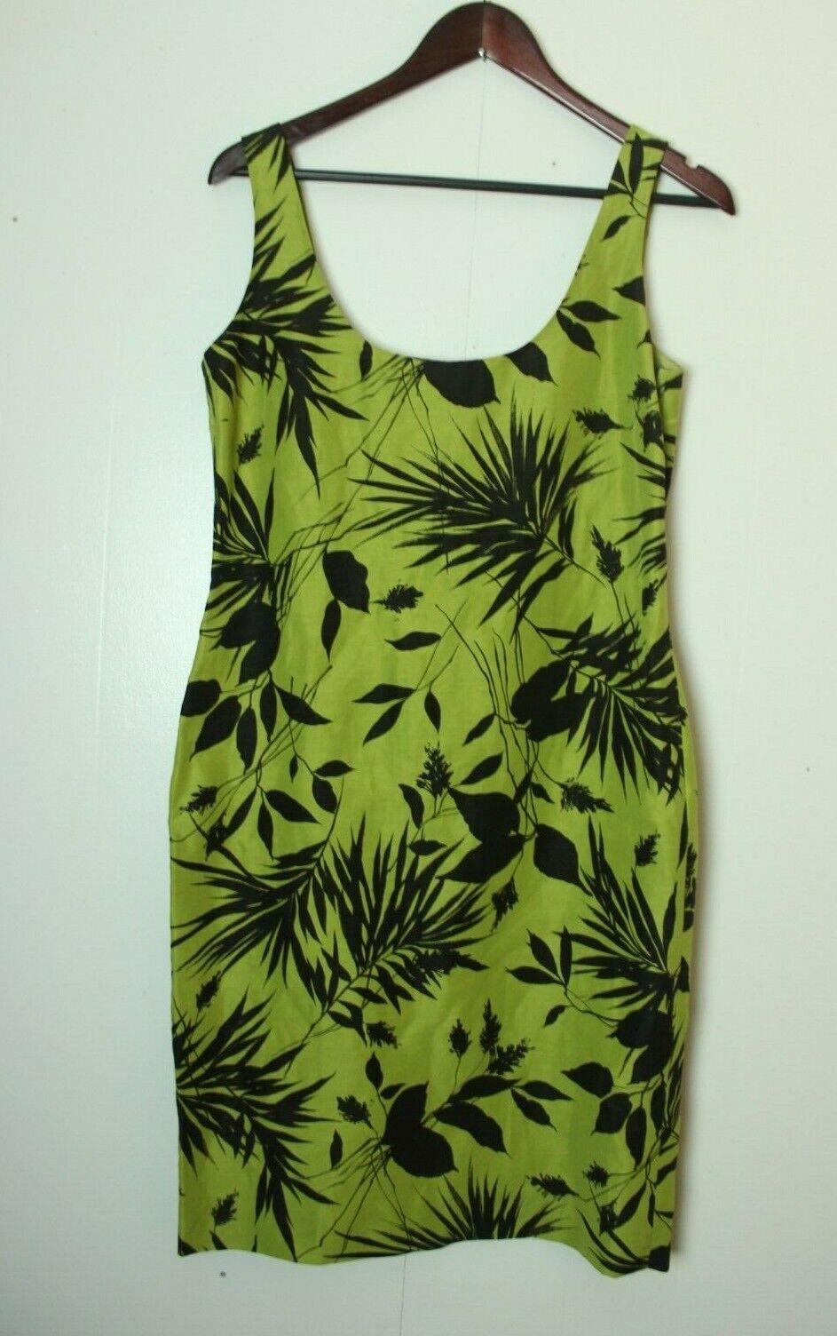 Dana Buchman Women's 2 Green Floral Leaf Silk/Linen Casual Dress