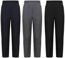 GIRLS BLACK /& GREY SCHOOL TROUSERS WITH ELASTICATED WAIST.from2-3 to 11-12 YEARS
