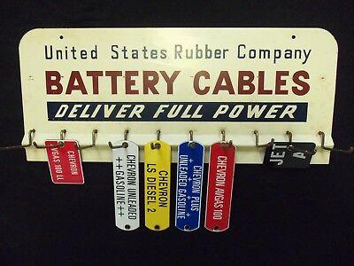 Vintage US Rubber Sign 1950s Porcelain Tags Battery Cables Rack Garage Organizer