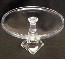 """Handcrafted GLASS Pedestal Cake Plate New in Box  Longaberger 9-7/8"""" diameter"""