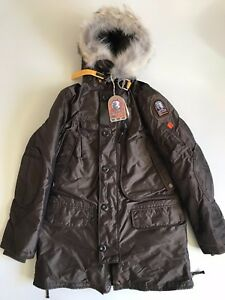 AUTHENTIC-PARAJUMPERS-MENS-KODIAK-LONG-PARKA-BROWN-L-LARGE-COYOTE-FUR-PJS-NEW