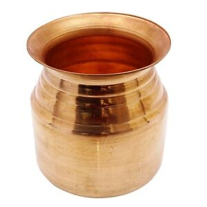 Hindu Arti Pure Copper Pooja Item Pot Engraved Symbols Prayer Kalash Lota