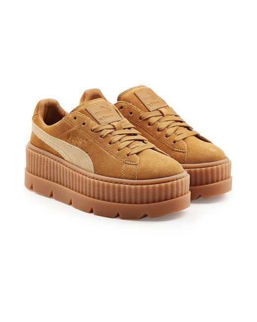 160 NWT Women's Puma FENTY SUEDE CLEATED CREEPER WOMEN'S 366268-02 Brown