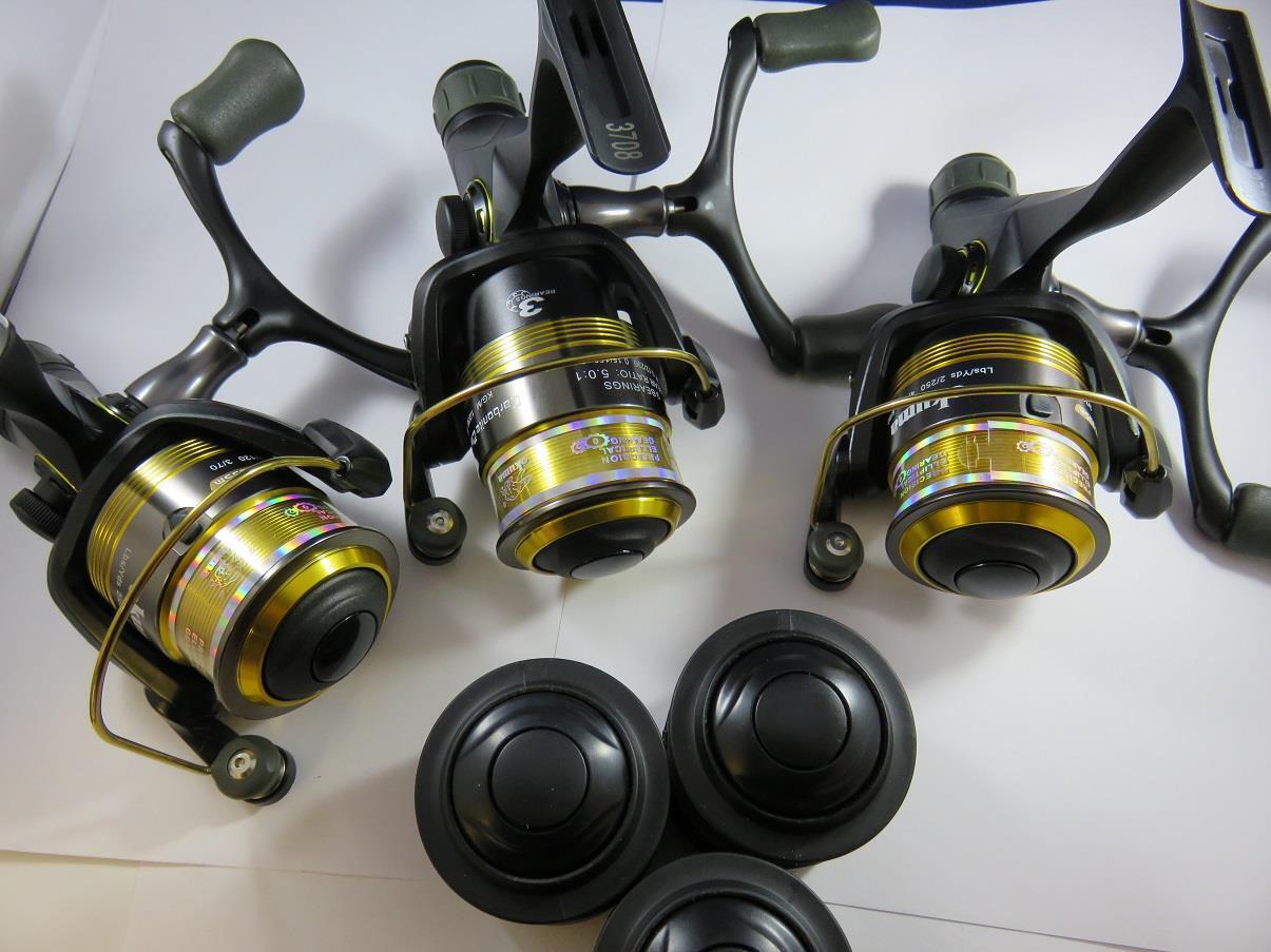 3 X OKUMA CARBONITE CARBONITE CARBONITE 2M CBR335M REAR DRAG FISHING REEL 3BB + SPARE SPOOL f2e4a1