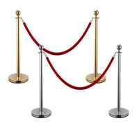 Rope Stanchion, 2 Crown Posts, Silver Or Gold Polished W/1 Rope