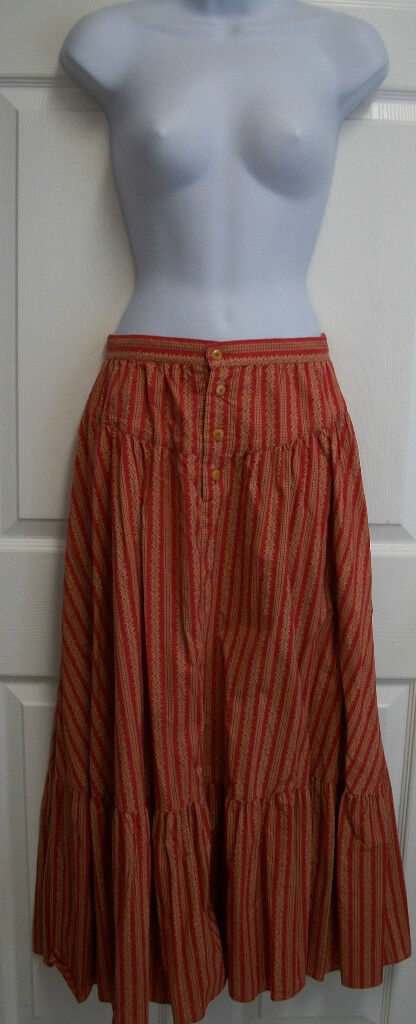 RALPH LAUREN COUNTRY SOUTHWESTERN RED FLORAL TIERED PRAIRIE PEASANT SKIRT 6
