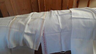 4 Alte Baumwollhandtücher - Weiß - Teilweise Farbige Zierkante - Dachbodenfund