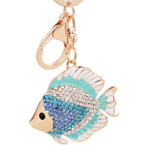 Crystal Fish Pendant Keychain Keyring Car Key Ring Chain Charm Bag Decor T3