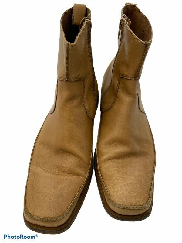 Womens Ankle Booties Brown Leather Moc Toe Side Zipper 7