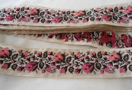 """Vintage Pink Floral Embroidered Fabric Ribbon Trim 1 1/2"""" Gold Thread Roses"""