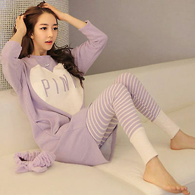 Cotton Cartoon Sleepwear Pajamas Set Long Sleeve Womens/Ladies Cute Nightgown