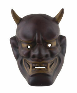 Piccolo Maschera Oni Devil No. Demon Giapponese IN Resina Bordeaux Noh 26513