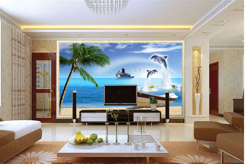 Libeal Funny Dolphin 3D Full Wall Mural Photo Wallpaper Printing Home Kids Decor