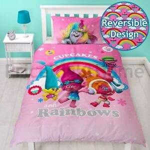 Details About Les Trolls Rêves Housse Couette Simple Neuf Fille 2 In 1 Parure