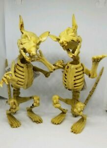 2-Posable-RAT-SKELETONS-Halloween-macabre-decor-oddity-Trick-or-Treat-skulls