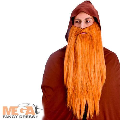 Ginger Deluxe Long Beard Mens Fancy Dress Wizard Fairytale Costume Accessory New