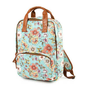 6d29f19ffe Floral Print Backpack Light Blue Brown Faux Leather Trim School Book ...