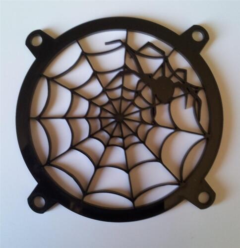 Custom 80mm BLACK WIDOW WEB Computer Fan Grill Gloss Black Acrylic Cooling Cover