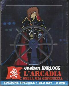 Blu-ray-2-Dvd-Ediz-SteelBook-CAPITAN-HARLOCK-L-039-ARCADIA-DELLA-MIA-GIOVINEZZA