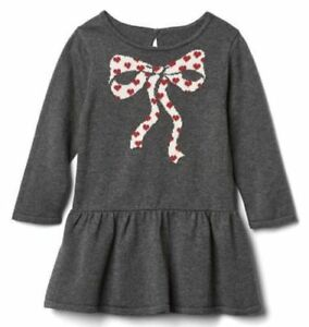 92b6698b626a 0 3 6 9 12 M BABY GAP Gray Red Bow Sweater Dress Holidays Kids Girl ...