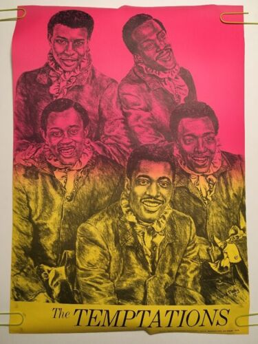 Vintage Black Light Poster The Temptations Caricature Pin-Up 1970's Headshop *71