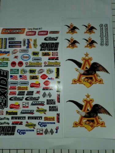 VINYL EXIDE A  2 SHEETS R//C MODEL Decal 1//12-1//10 box D Mixed Stickers