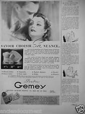 PUBLICITÉ 1936 POUDRE GEMEY CRÉATION RICHARD HUDNUT - ADVERTISING