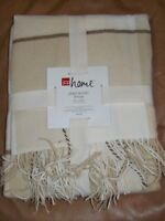 Jcp Home - Plaid Acrylic Throw - 50x60 - Neutral Retails $40.00(bd-18x2)