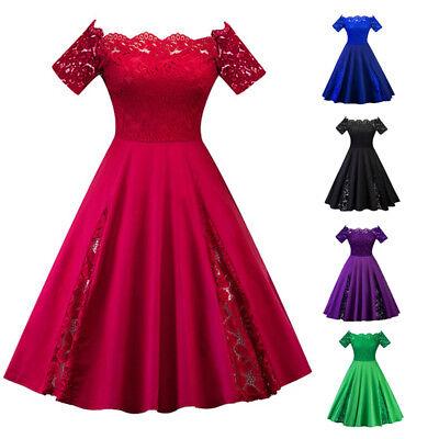 Plus Size Vintage 50s 60s Lace Off Shoulder Swing Evening Party Rockabilly  Dress | eBay