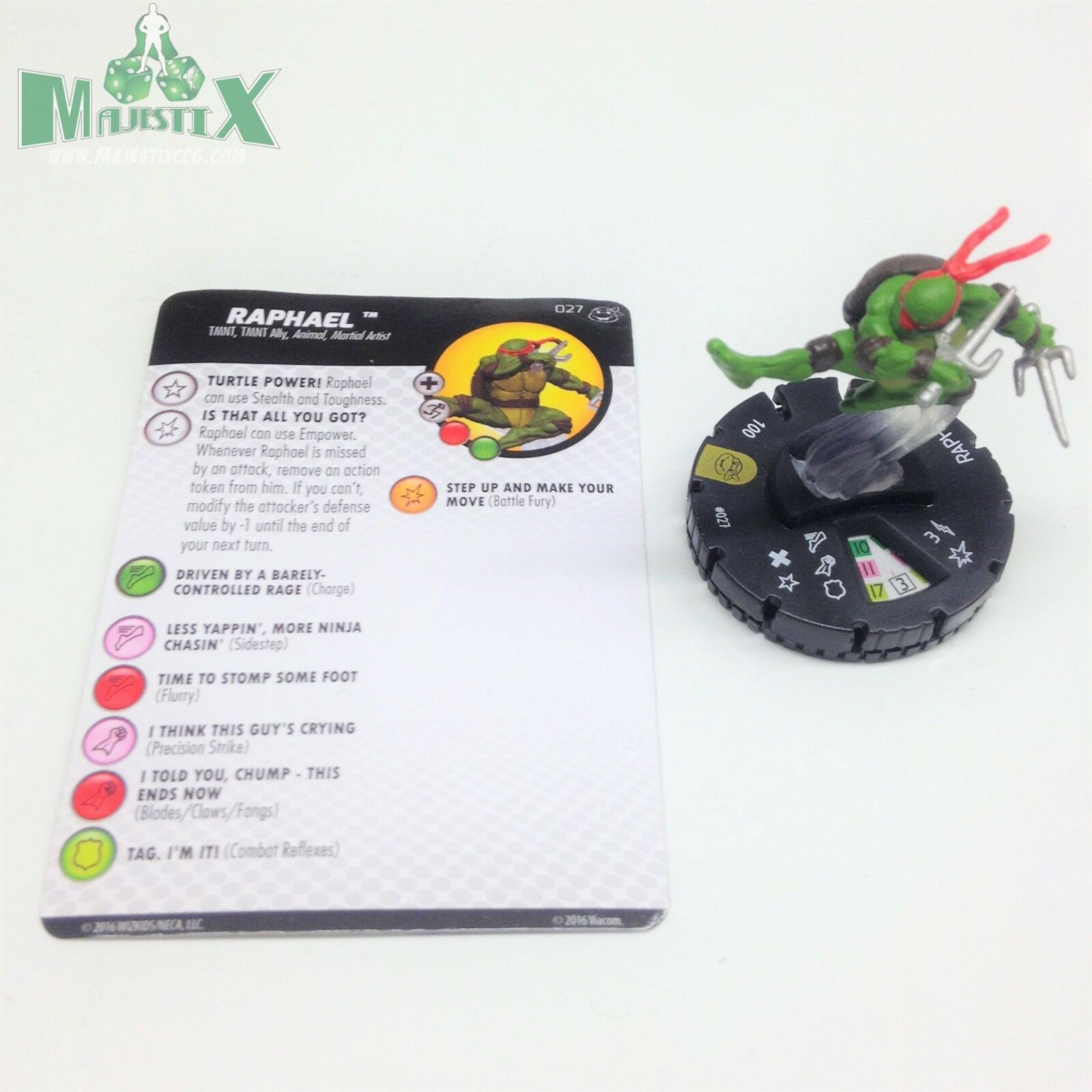 Heroclix Teenage Mutant Ninja Turtles 2 set Raphael Super Super Super Rare w card  9421f2