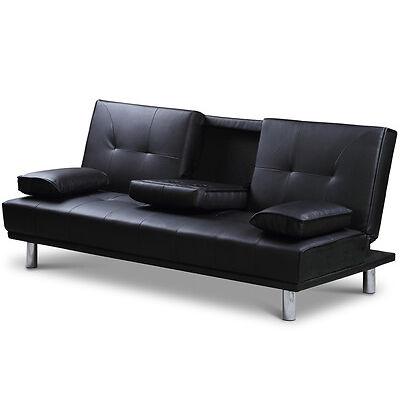 2 / 3 Seater Small Sofa Bed Modern Click Clack Design Bluetooth Speaker Option