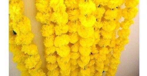 Artificial Marigold Flower Garland Yellow Diwali Decor Indian Wedding